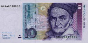Zehnmarkschein mit dem Mathematiker Carl Friedrich Gauß
